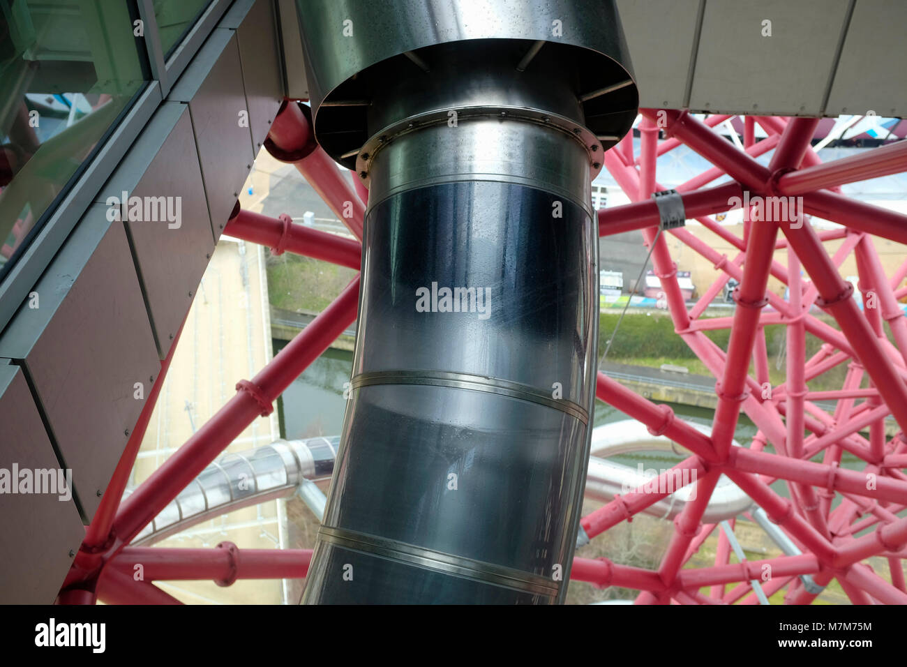 The world's longest tunnel slide at ArcelorMittal Orbit in Olympic Park, London, UK. - Stock Image