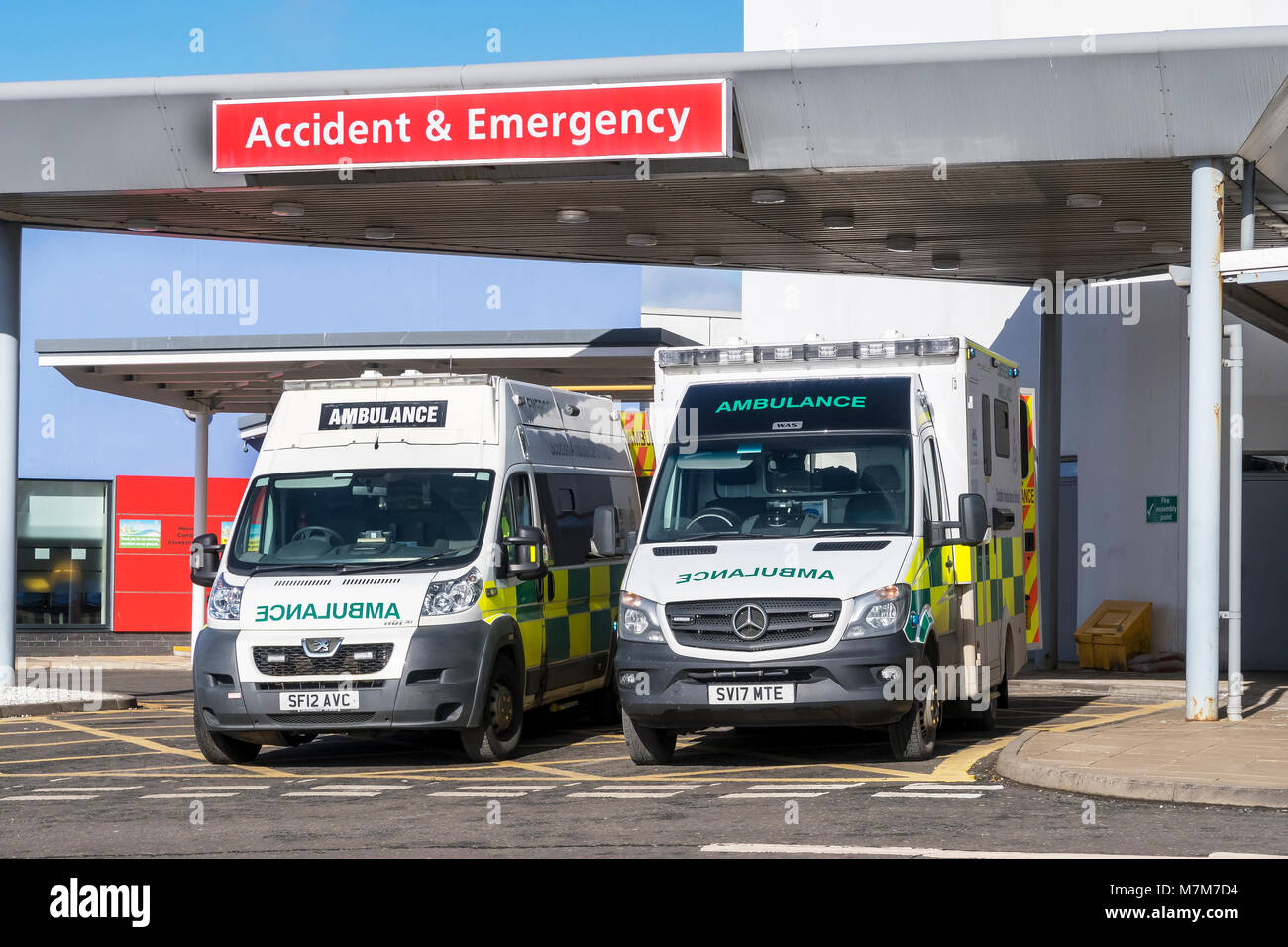 Two ambulances parked outside the Accident and Emergency department of Crosshouse University Hospital, Crosshouse, - Stock Image