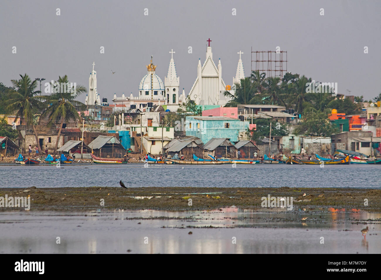 Ancient Church Build By Dutch Rulers At Pulicat Lakeside, Tamil Nadu, South India With Blue Sky Background - Stock Image