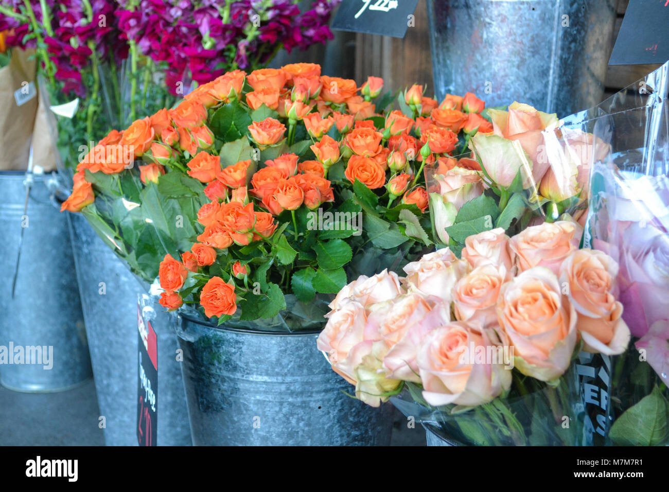 Bunches of fresh flowers and roses in galvanized steel buckets at the local city market - Stock Image