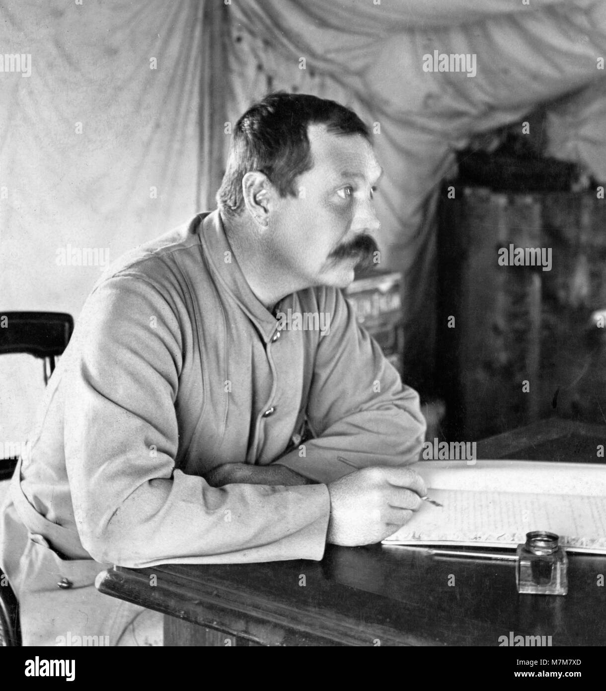 The British writer and physician, Sir Arthur Conan Doyle, creator of Sherlock Holmes in his tent at Bloemfontein, - Stock Image