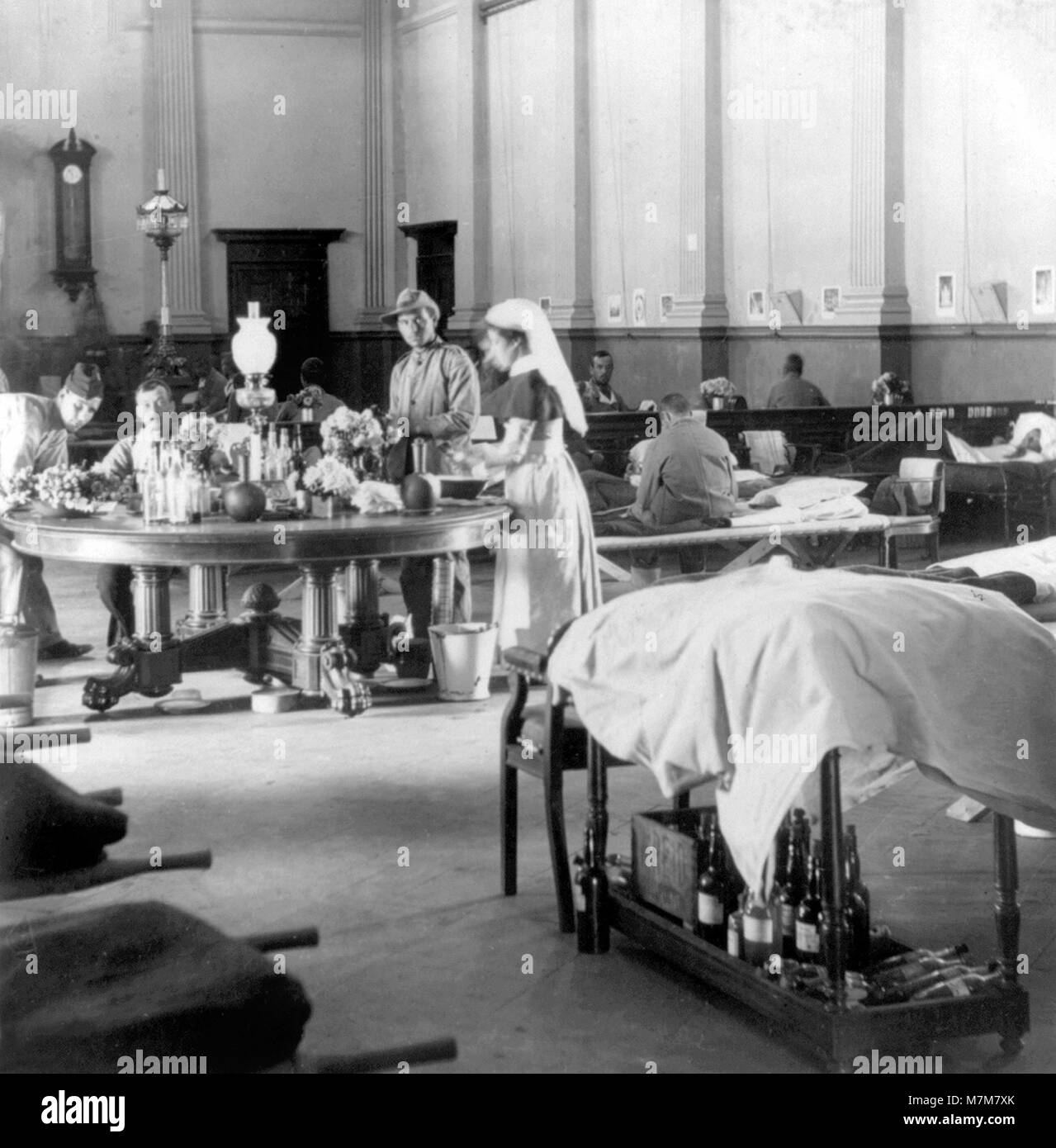 Boer War. British troops being treated at the hopital, Raadzaal, Bloemfontein, South Africa, during the Second Boer - Stock Image