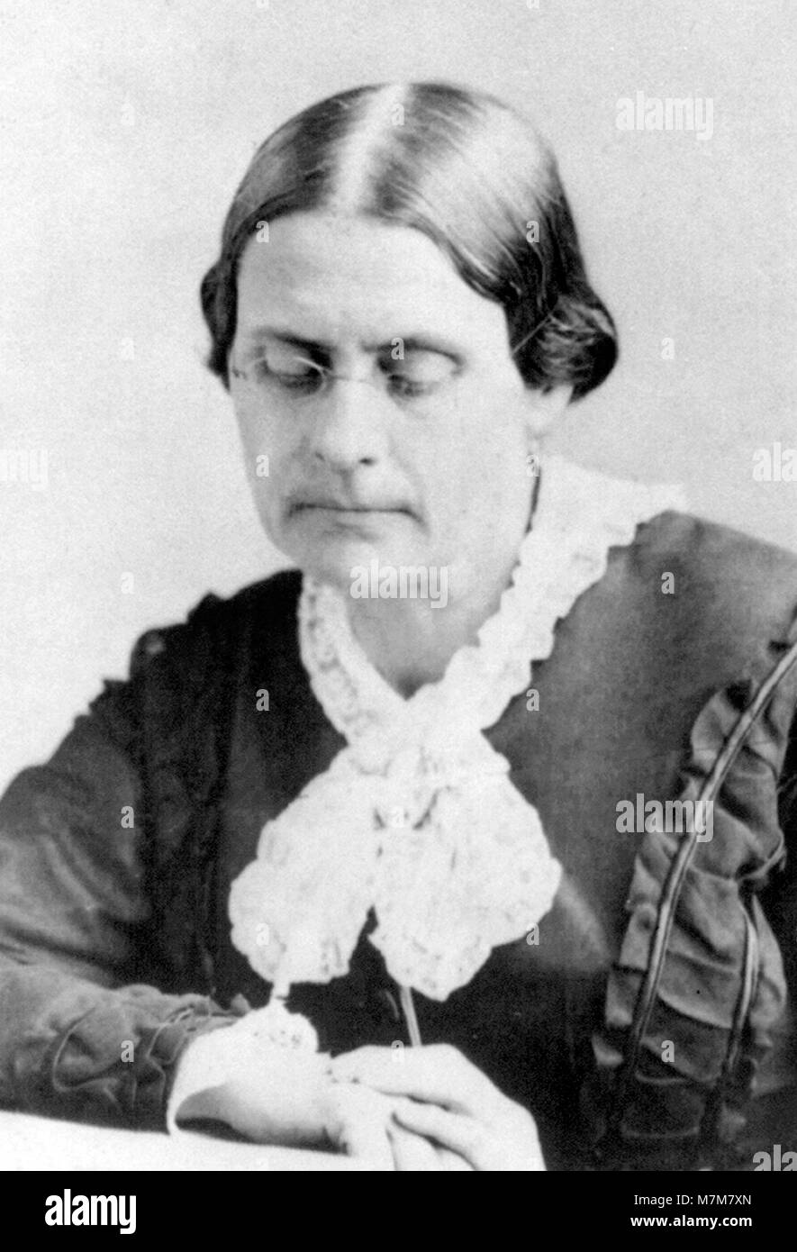 Susan B Anthony. Portrait of Susan Brownell Anthony (1820-1906), American suffragists and social reformer, by Matthew - Stock Image