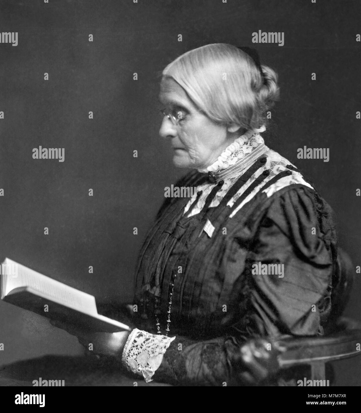 Susan B Anthony. Portrait of Susan Brownell Anthony (1820-1906), American suffragists and social reformer, c.1900. - Stock Image