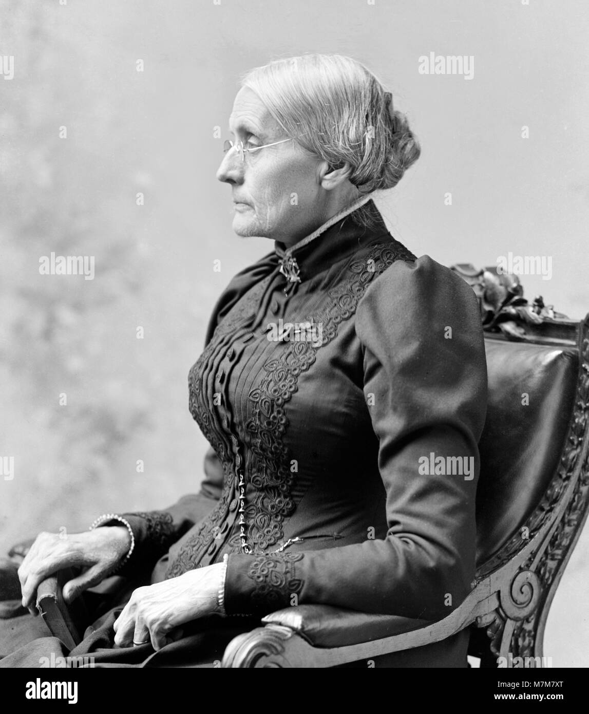 Susan B Anthony. Portrait of Susan Brownell Anthony (1820-1906), American suffragists and social reformer, by C - Stock Image