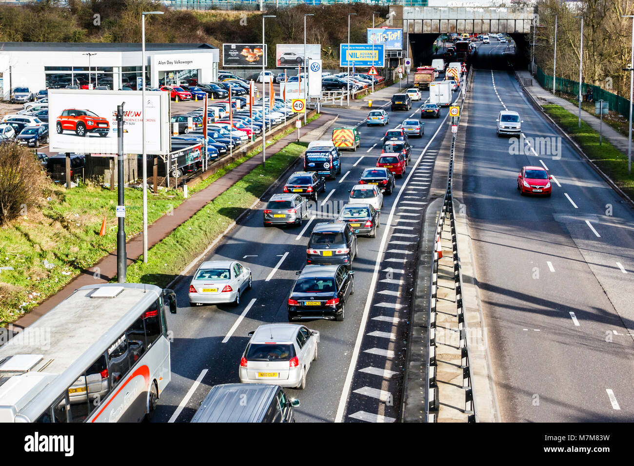 The customary east-bound traffic tailback on the North Circular Road, London, UK, at Friern Bridge - Stock Image