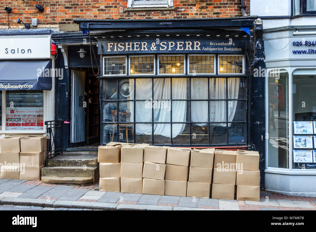 Fisher & Sperr antiquarian bookshop, Highgate, UK, in the process of closing down, June 2011 - Stock Image