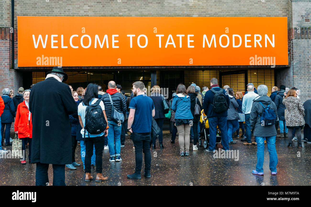 London, UK - March 10, 2018: Entrance to the Tate Modern, a modern art museum in the South Bank of London Stock Photo