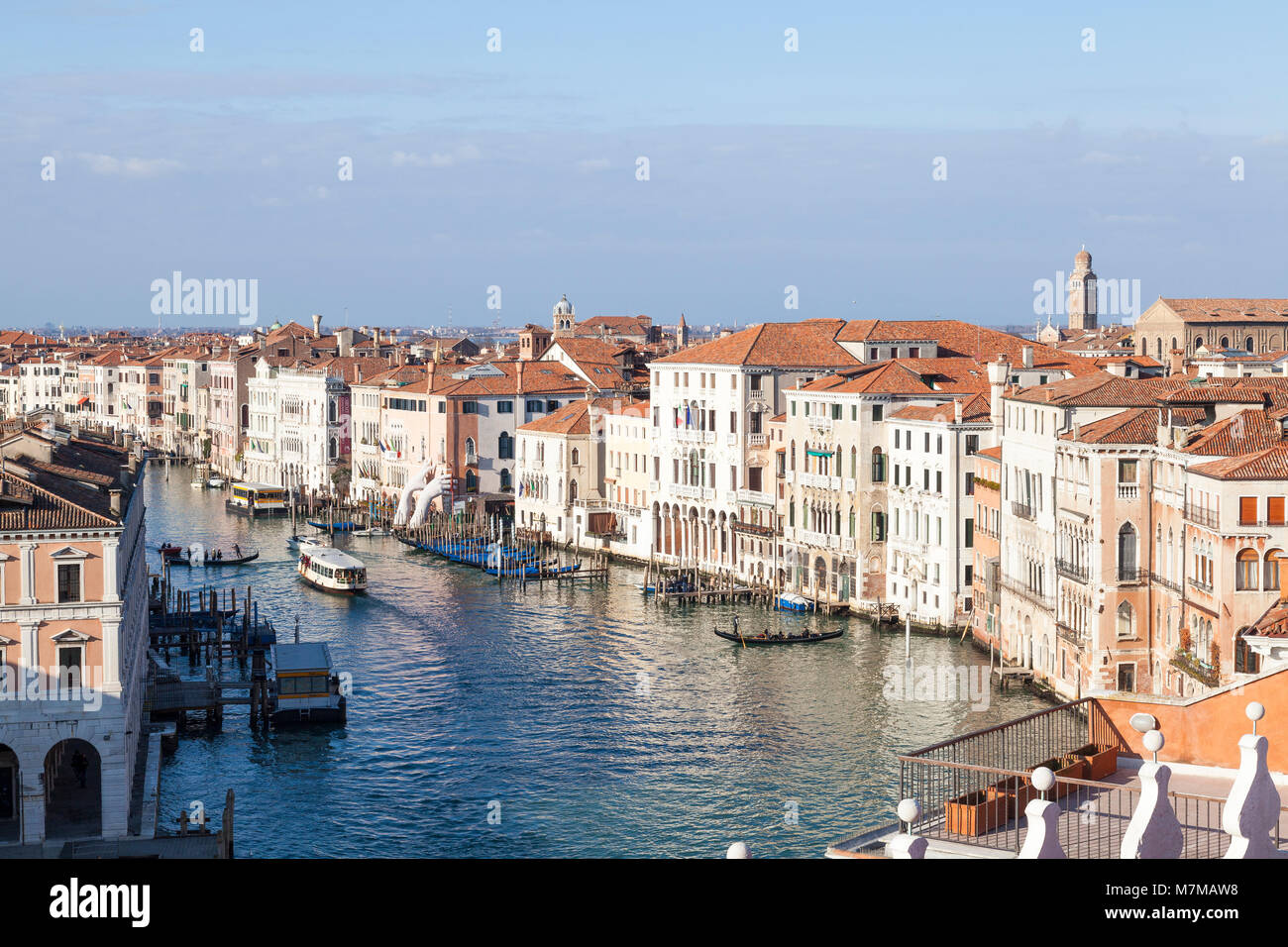 Aerial rooftop view of the Grand Canal and Venice, Italy from the terrace of Fondaco Tedeschi looking down on Cannaregio - Stock Image