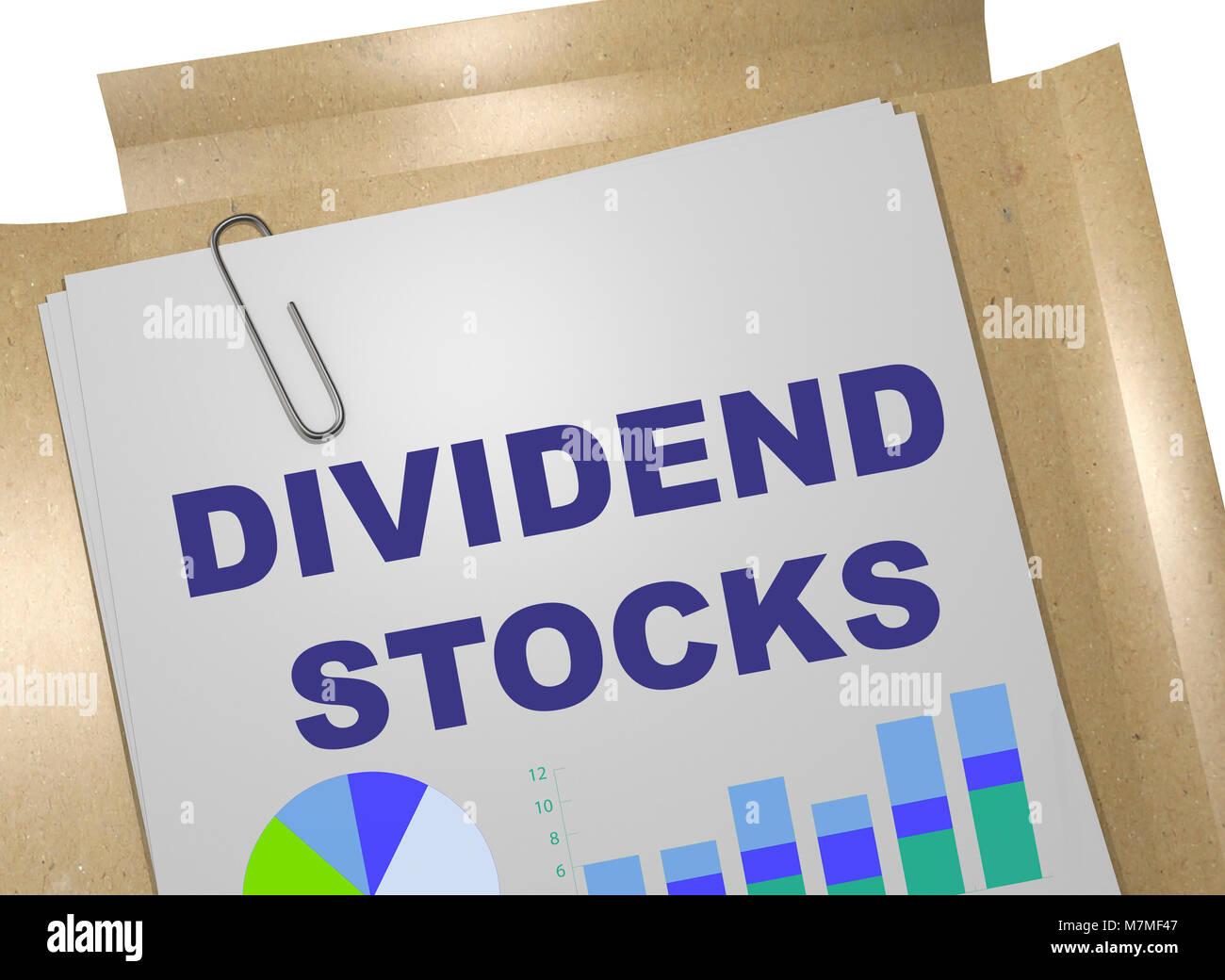 3D illustration of DIVIDEND STOCKS on business document - Stock Image