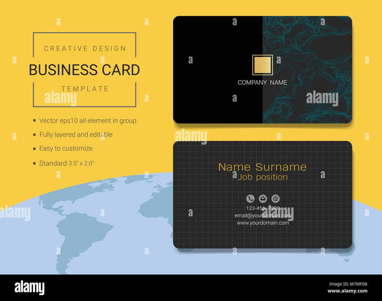 Creative business card or name card template simple style also creative business card or name card template simple style also modern and elegant with abstract geometric lines background accmission Images