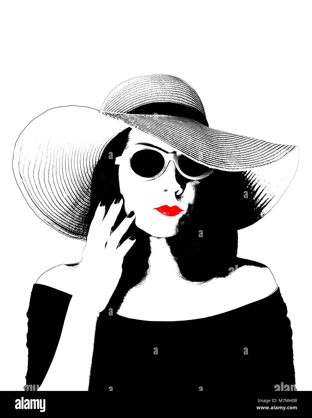 Photo in the style of pop art young beautiful woman in a retro black dress and big hat vintage fashion style