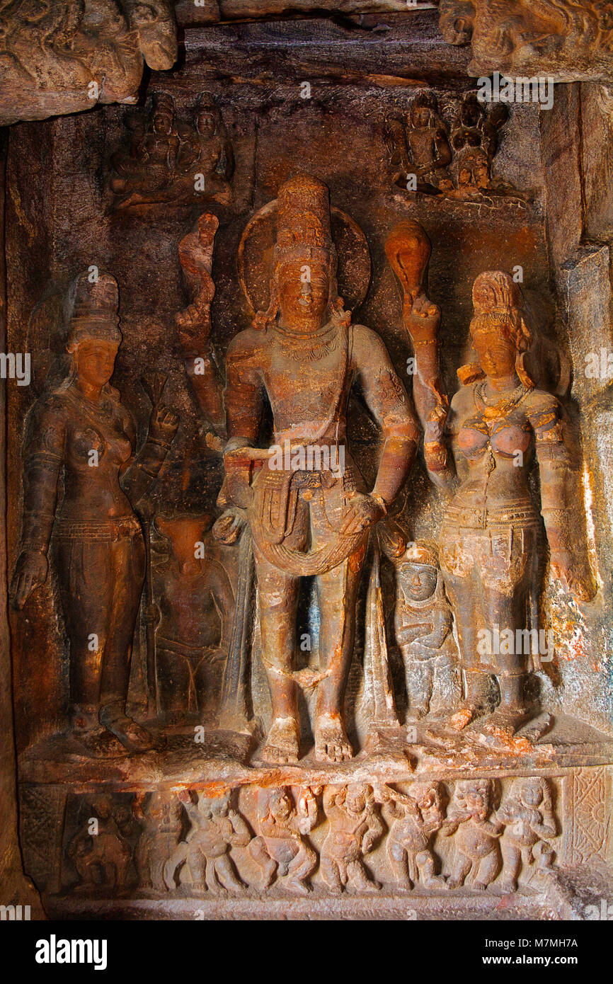 Cave 1 : Shiva and consorts. Badami Caves, Bijapur district, Karnataka, India Stock Photo