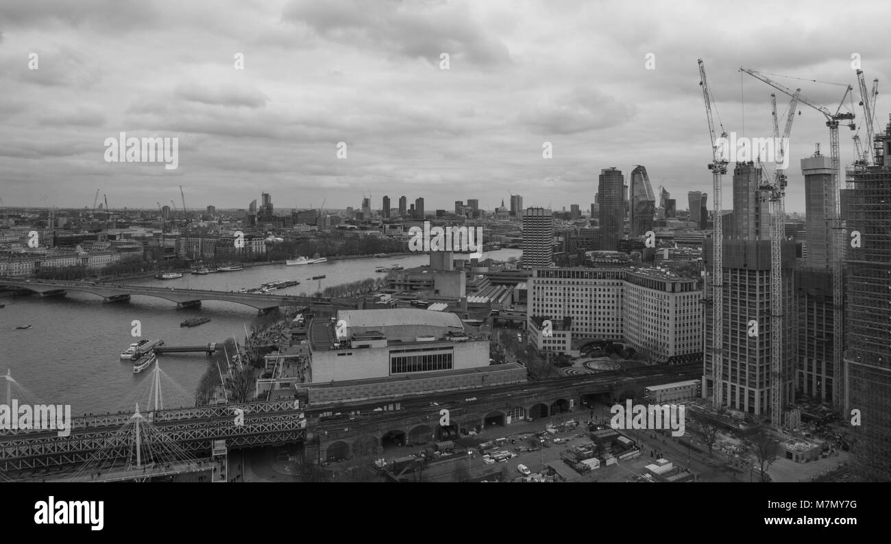 London, United Kingdom, February 17, 2018: Aerial view of London cityscape with the Hungerford Bridge over the river - Stock Image