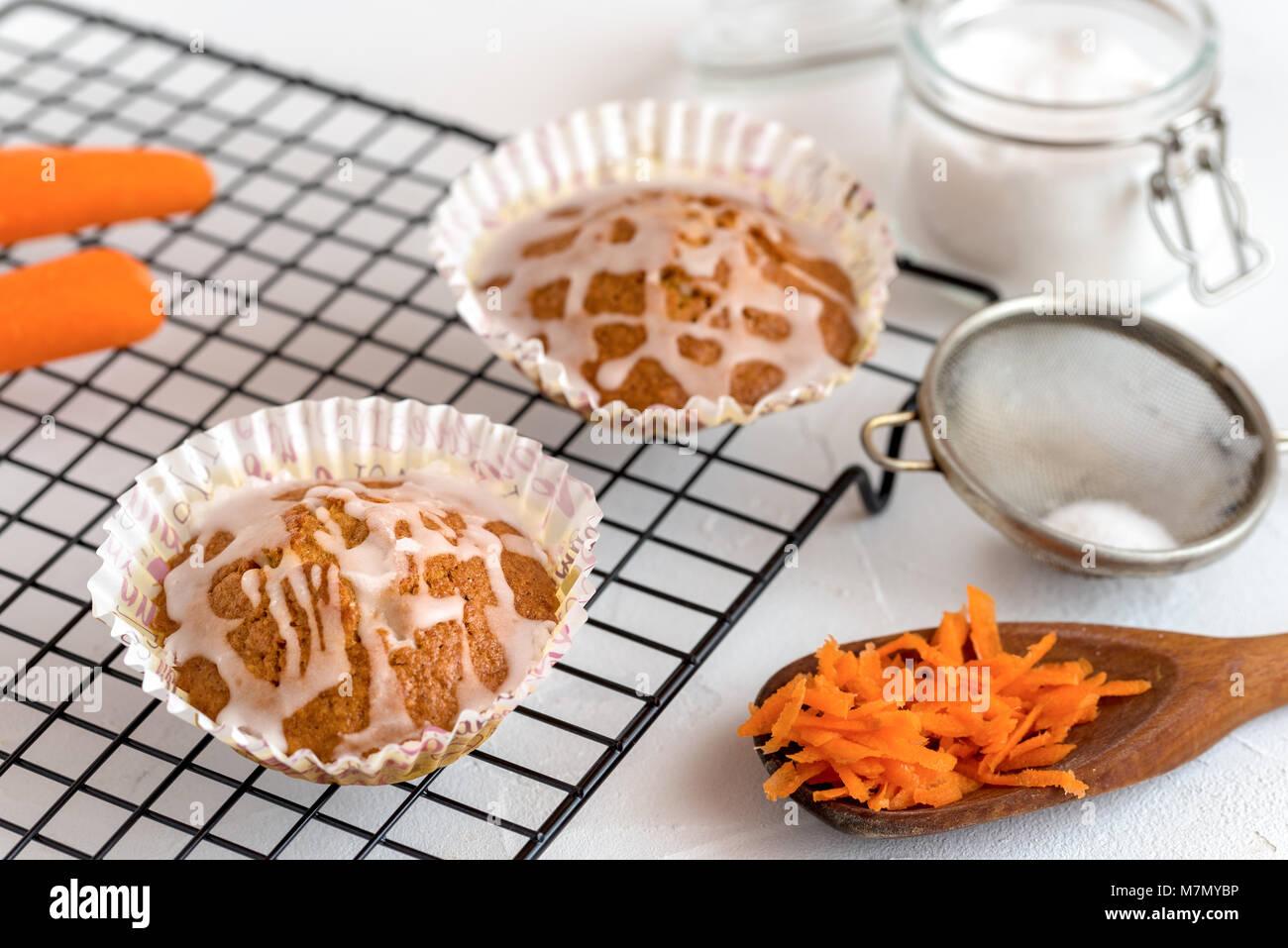 Homemade carrot cake cupcakes. - Stock Image