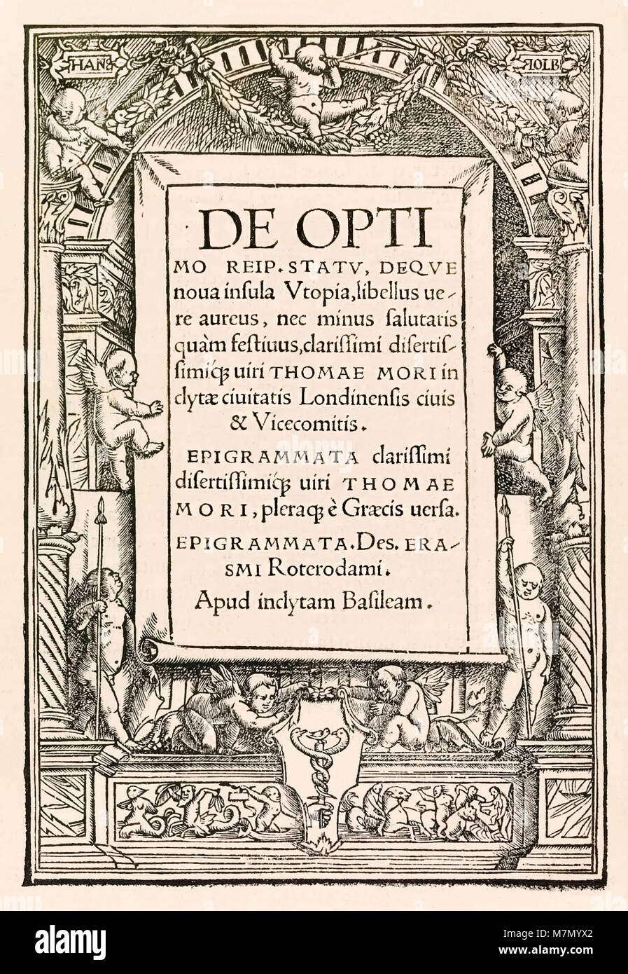 Title page from the 1518 Basel third edition of 'Utopia' by Sir Thomas More (1478–1535) first published in 1516. - Stock Image