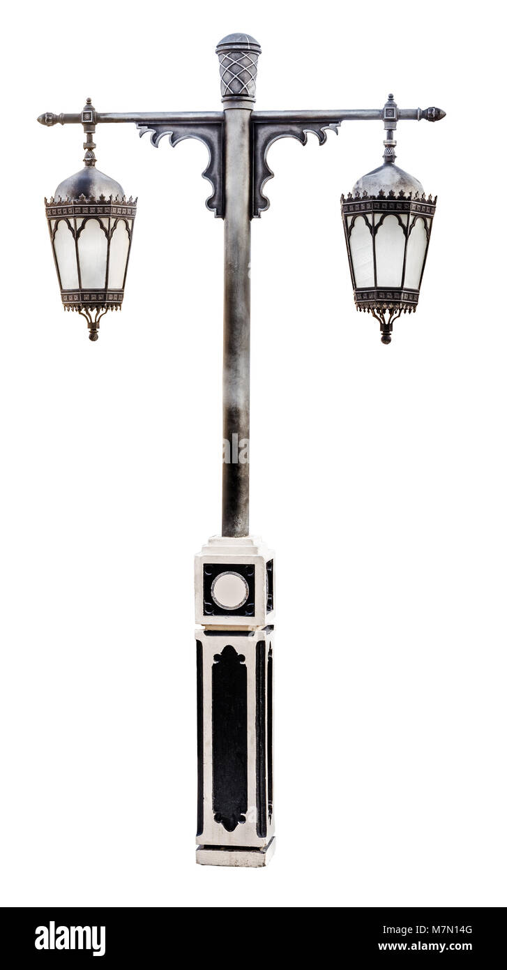 Vintage black street lamppost with two lamps isolated on white background. - Stock Image