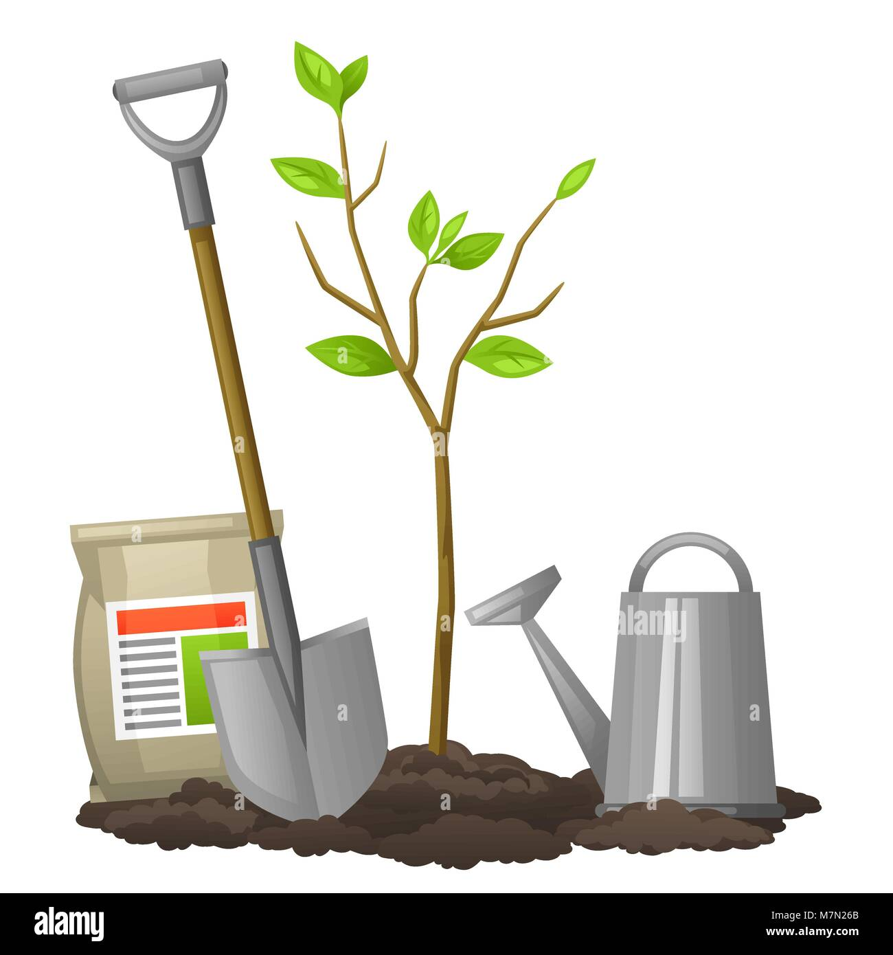 Seedling fruit tree with shovel, fertilizers and watering can. Illustration for agricultural booklets, flyers garden - Stock Vector