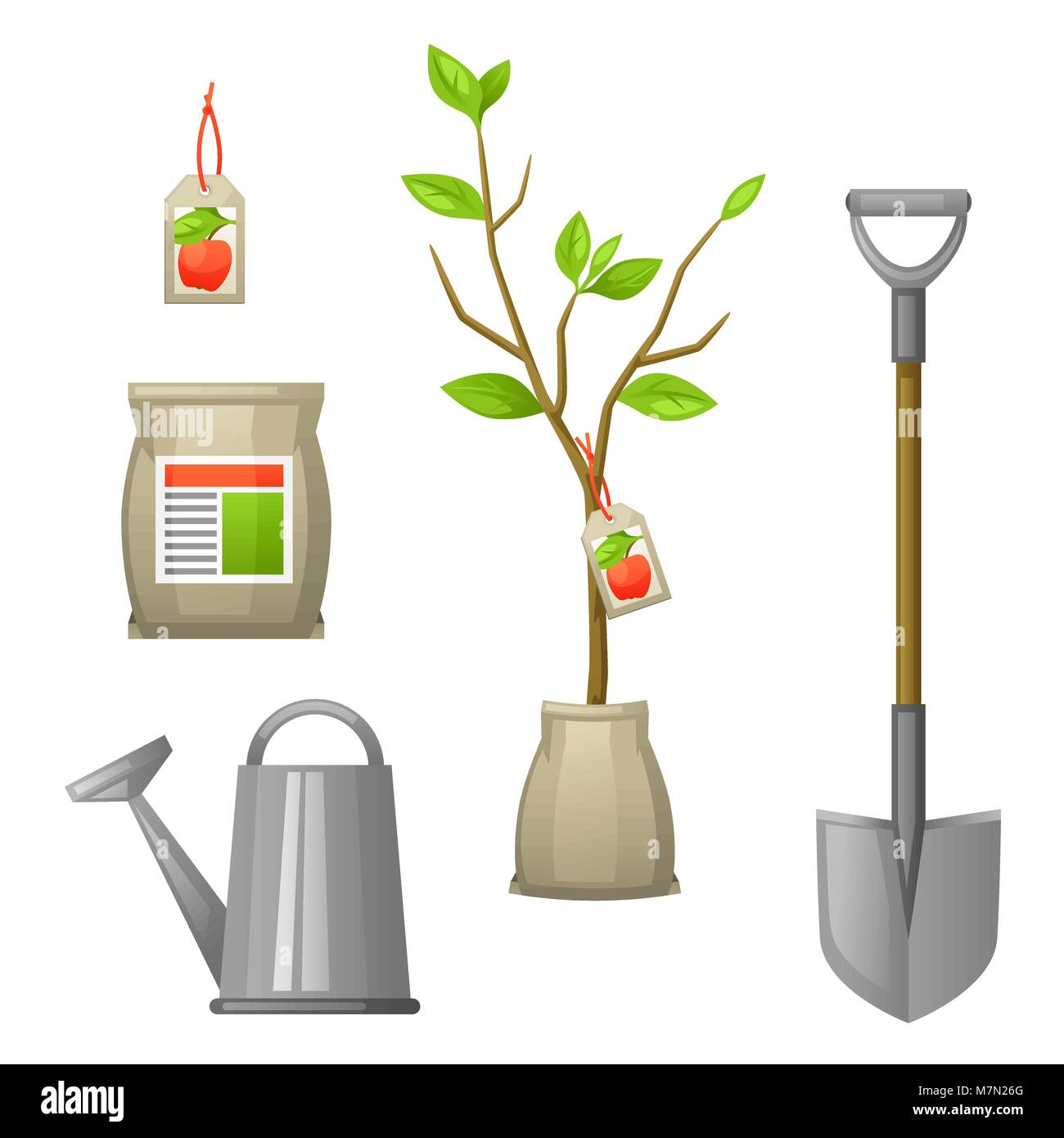 Set of seedling fruit tree,shovel, fertilizers and watering can. Illustration for agricultural booklets, flyers - Stock Vector
