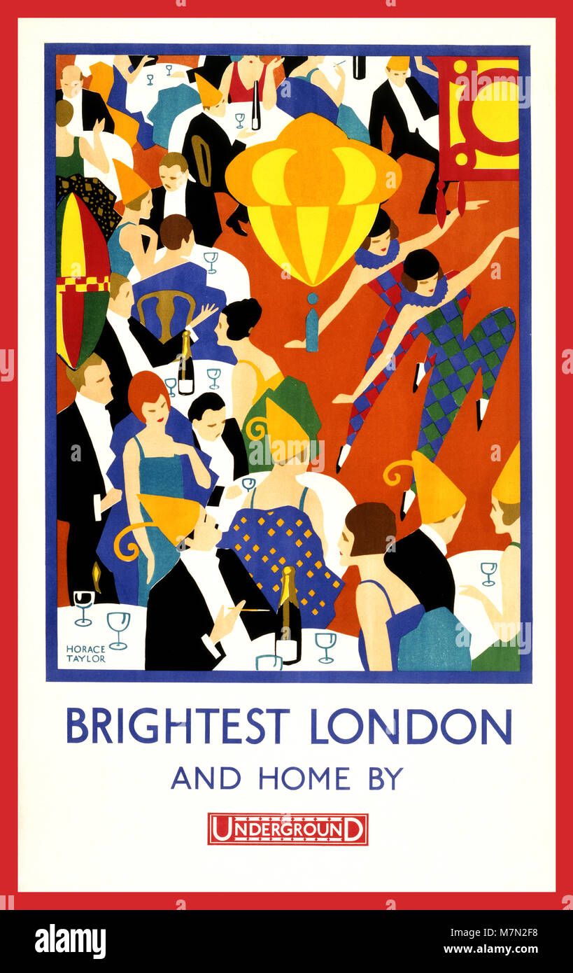 Vintage 1900's London Underground Poster  'Brightest London and home by Underground' by Artist Horace Taylor 1924 - Stock Image