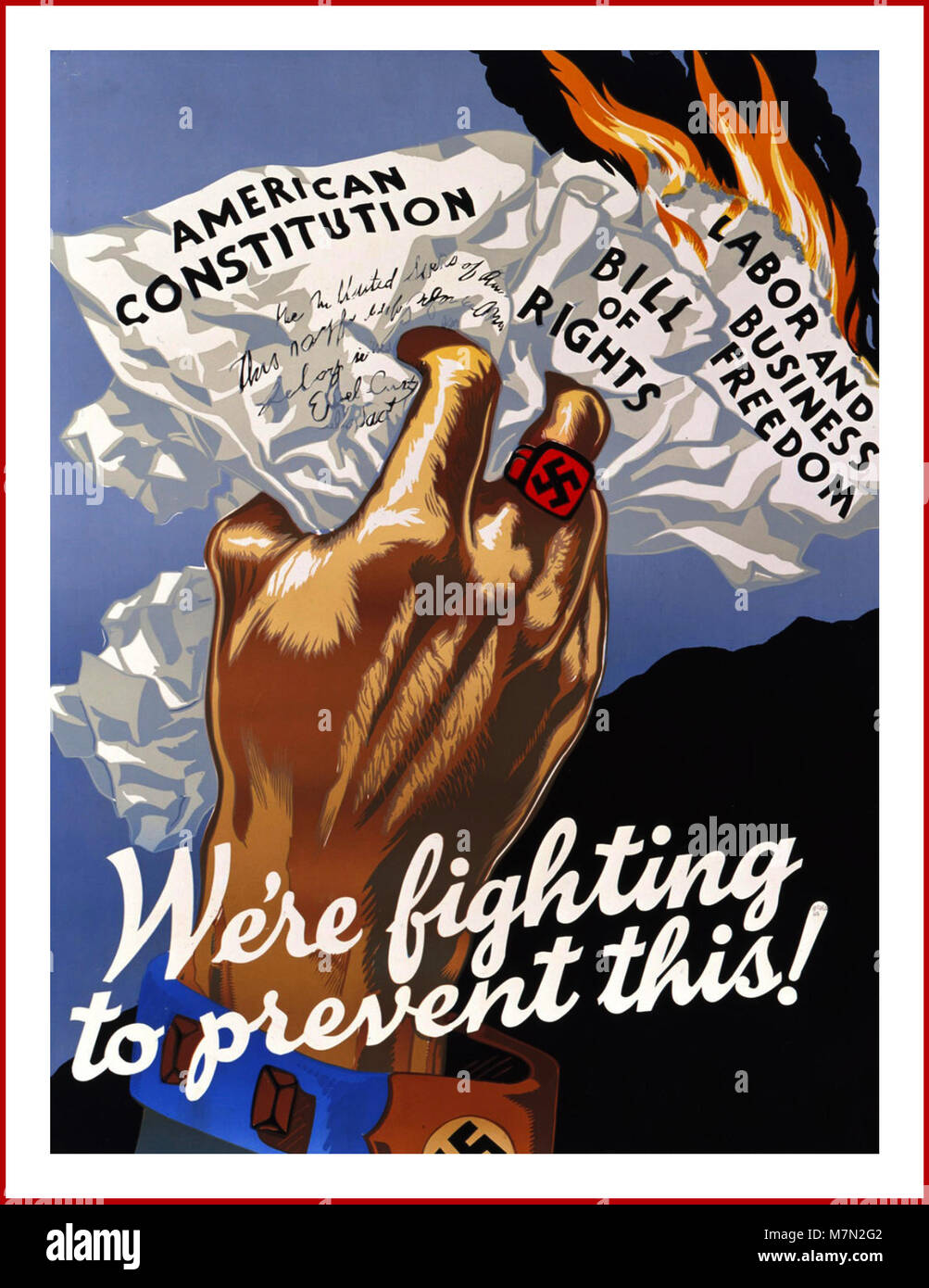 WW2 1940's American propaganda poster 'We're fighting to prevent this'' showing a hand, with - Stock Image