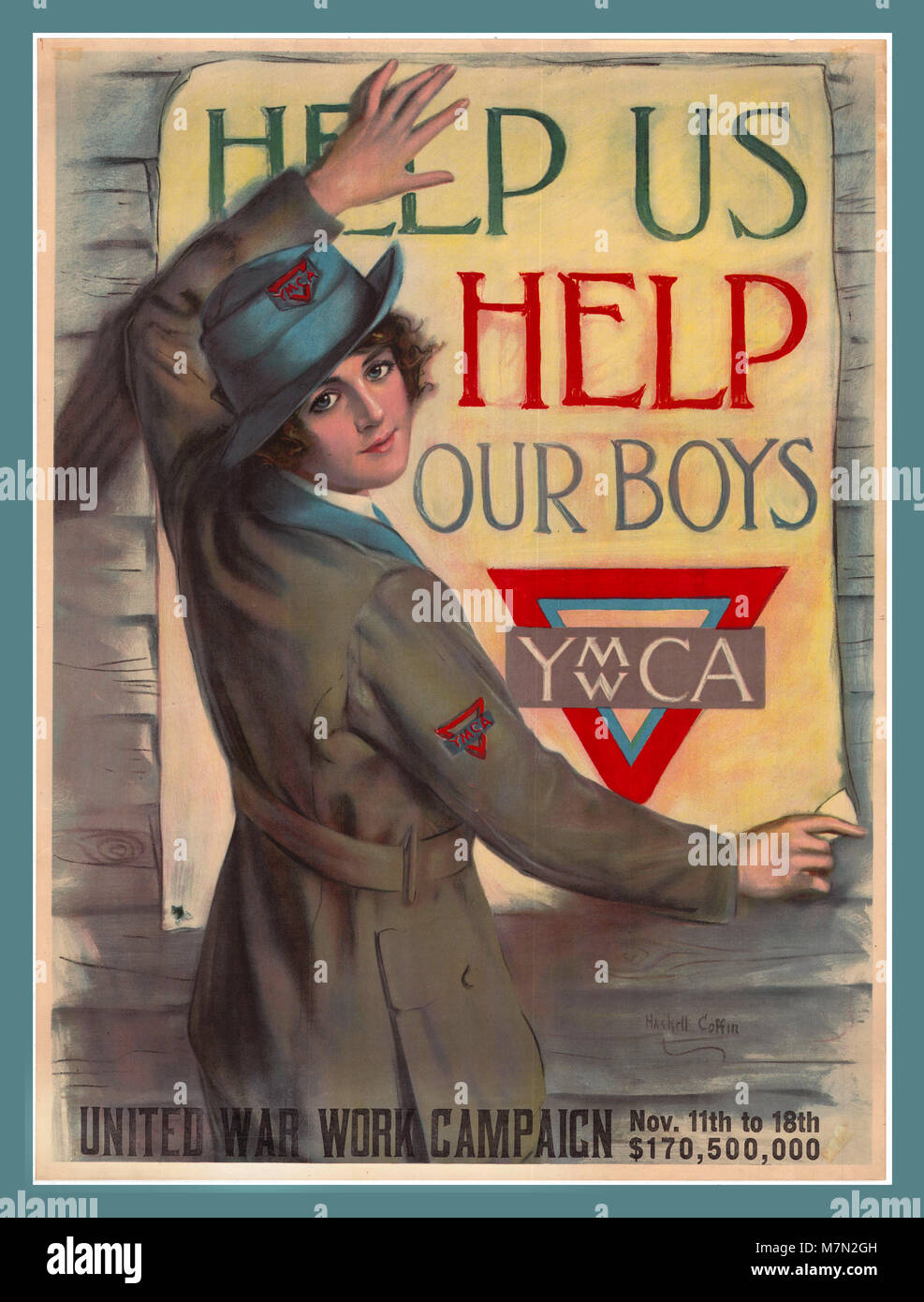 Vintage WW1 propaganda appeal poster 'Help us help our boys' by artist Haskell Coffin for the 'United - Stock Image