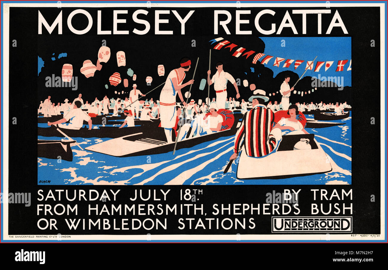 Vintage 1920's sports river competition poster for Molesey Regatta by London Transport produced to promote Underground - Stock Image