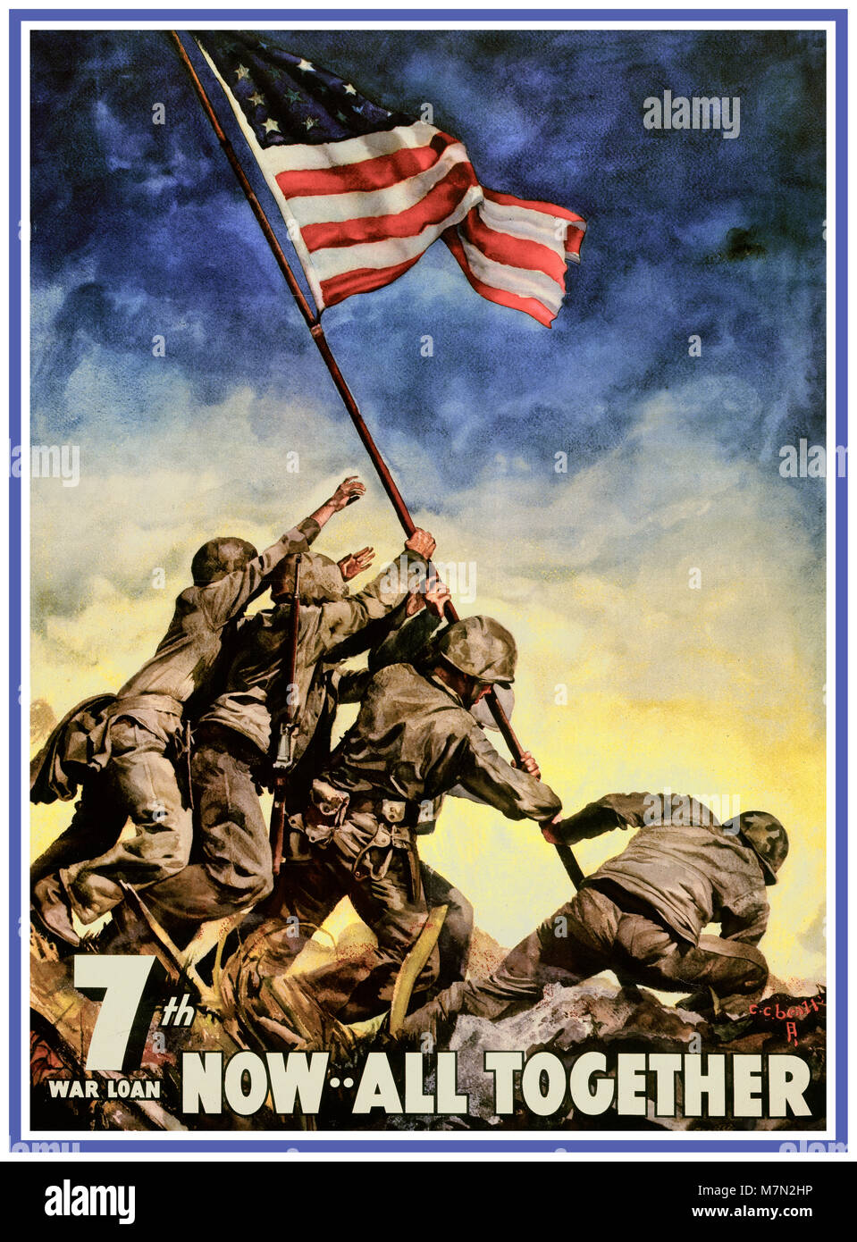 Vintage WW2  USA War Bond Poster Iwo jima American Flag Raising - 'Now All Together - 7th War Loan'  The 7th war Stock Photo