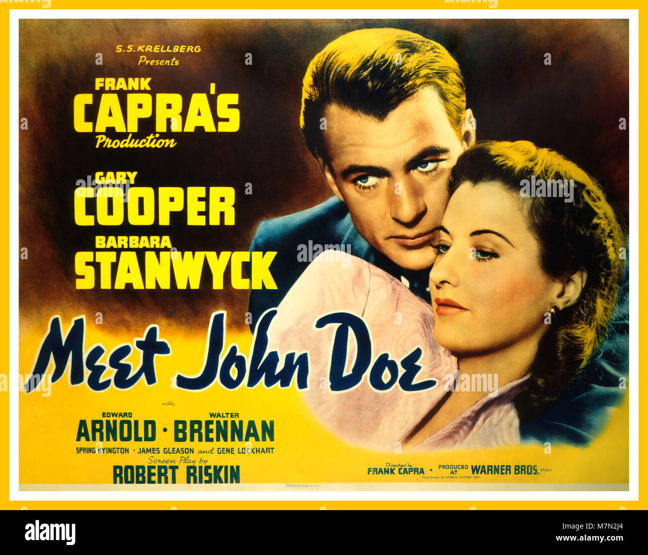 Vintage 1941 American Comedy Drama ' Meet John Doe' Directed and Produced by Frank Capra, starring Gary Cooper and - Stock Image