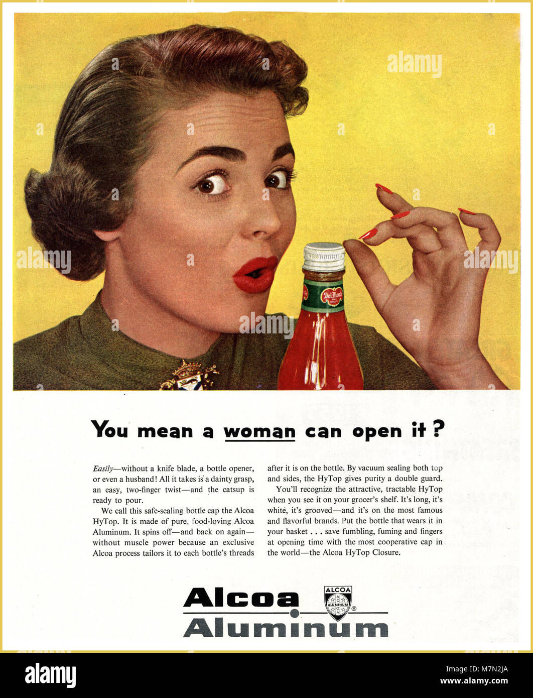 1950's sexist non PC press ad advertisement for aluminium bottle top made in America USA  'You mean a woman can - Stock Image
