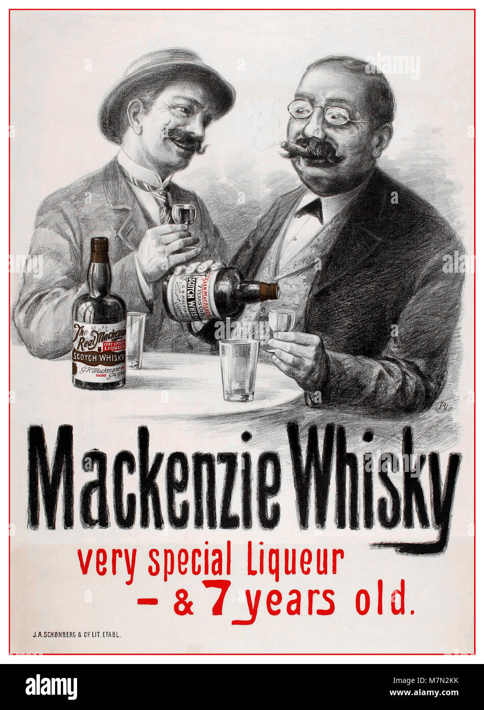 Vintage 1898 original antique Whisky drinks advertising poster for 'Mackenzie Whisky very special liqueur & - Stock Image
