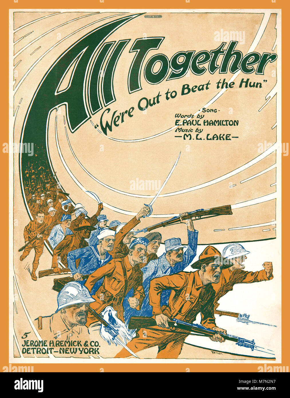 Vintage WW1 anti German music sheet 'All together we're out to beat the Hun' a 1918 music sheet song - Stock Image