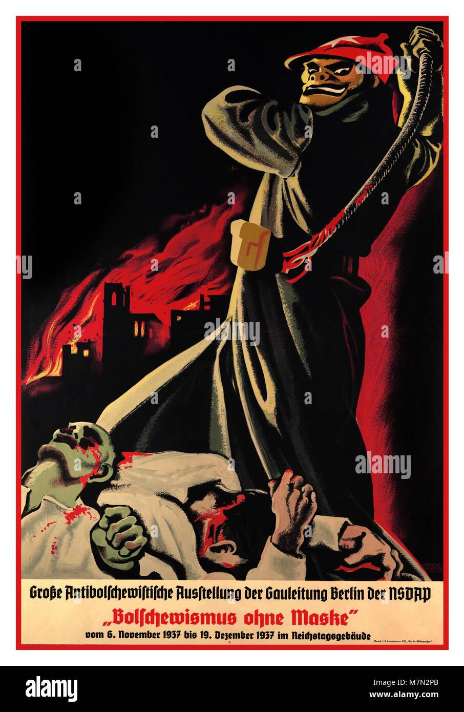 1937 Vintage pre WW2 German anti-Bolshevik Nazi propaganda poster. The translated caption: 'Bolshevism without - Stock Image