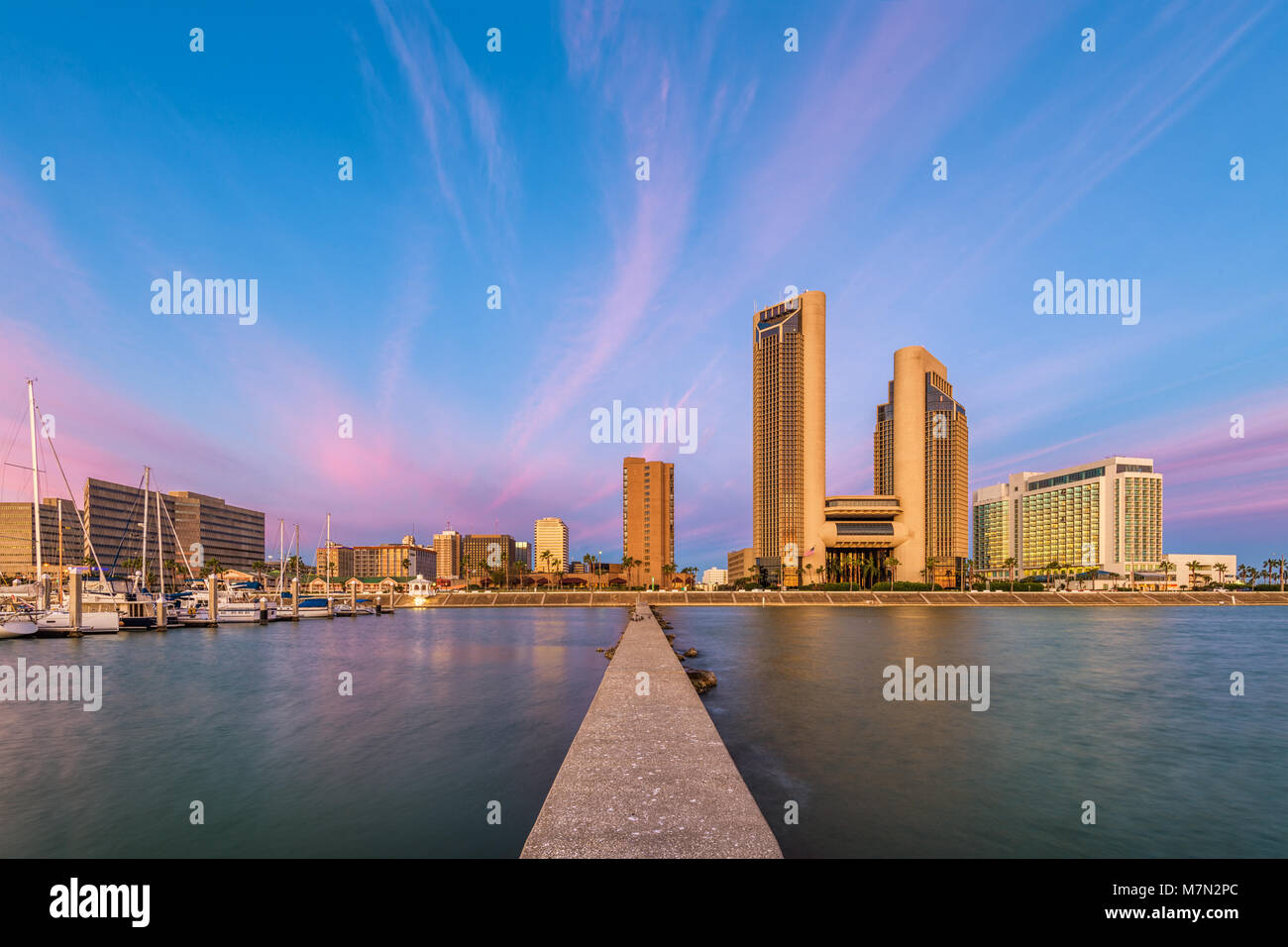 Corpus Christi, Texas, USA skyline on the bay. - Stock Image