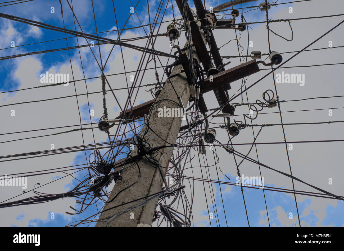 Old Style Electrical Wiring And Insulators Against A Blue Sky - WIRE ...
