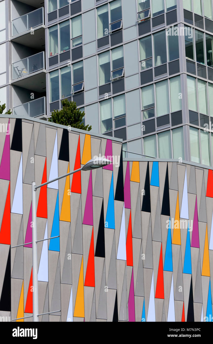 Colorful triangles design on the exterior wall of a modern building in Richmond, BC, Canada - Stock Image