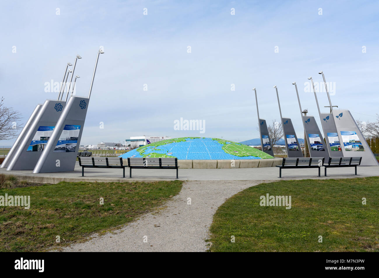Three dimensional map of the world in Larry Berg Flight Path Park, Richmond, BC, Canada - Stock Image