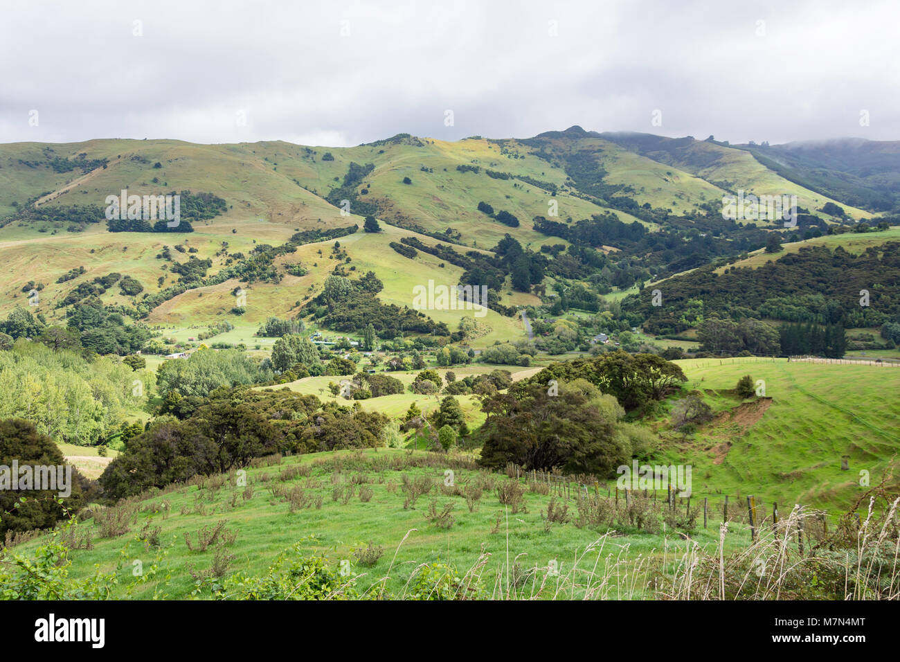 Hilly landscape from Summit Road, Little River, Banks Peninsula, Canterbury Region, New Zealand - Stock Image
