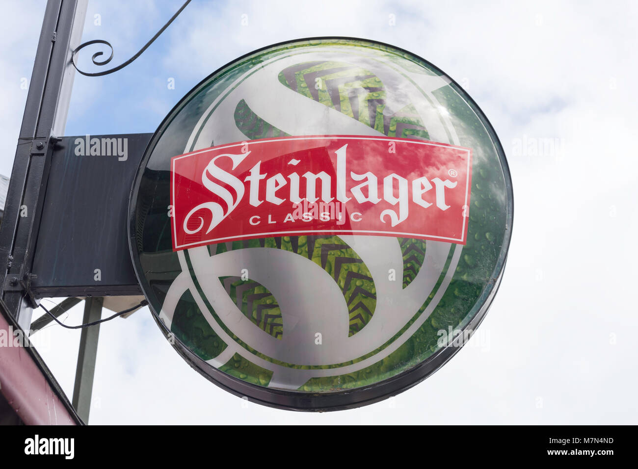 New Zealand's Classic Steinlager Beer neon sign, Rue Lavaud, Akaroa, Banks Peninsula, Canterbury Region, New - Stock Image