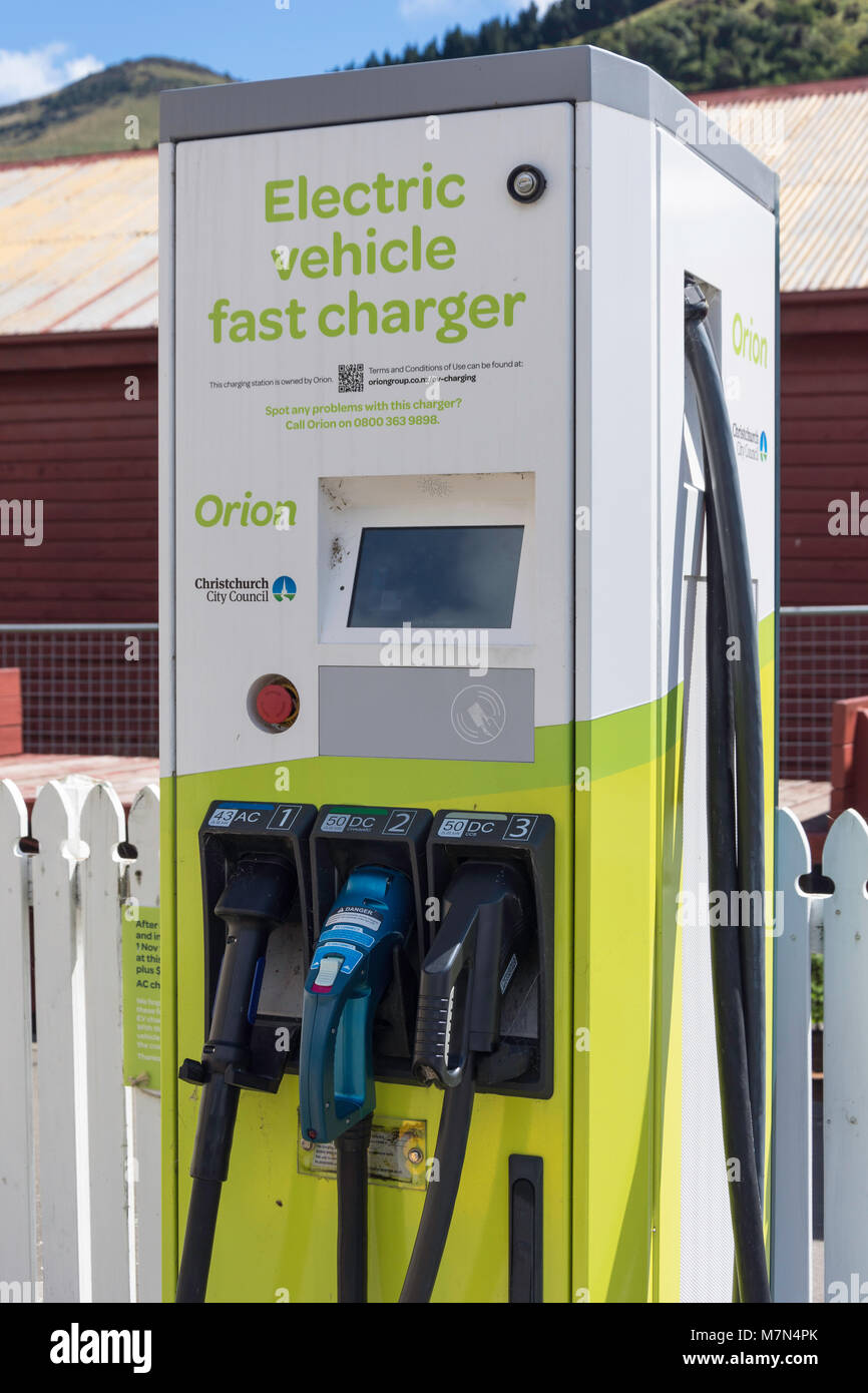 Orion Electric vehicle fast charger, Main Road, Little River, Banks Peninsula, Canterbury, New Zealand - Stock Image