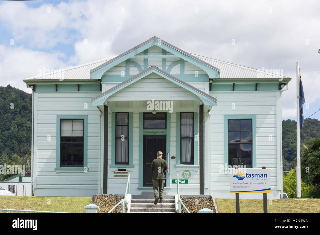 Tasman District Council, Murchison Service Centre and Library, Fairfax Street, Murchison, Tasman Region, New Zealand Stock Photo