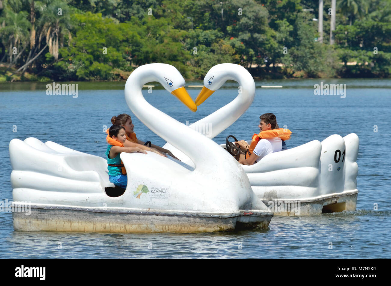 Campinas, SP/ Brazil - March 11, 2018: Family having fun riding on the swan shaped pedal boats at Portugal Park's - Stock Image