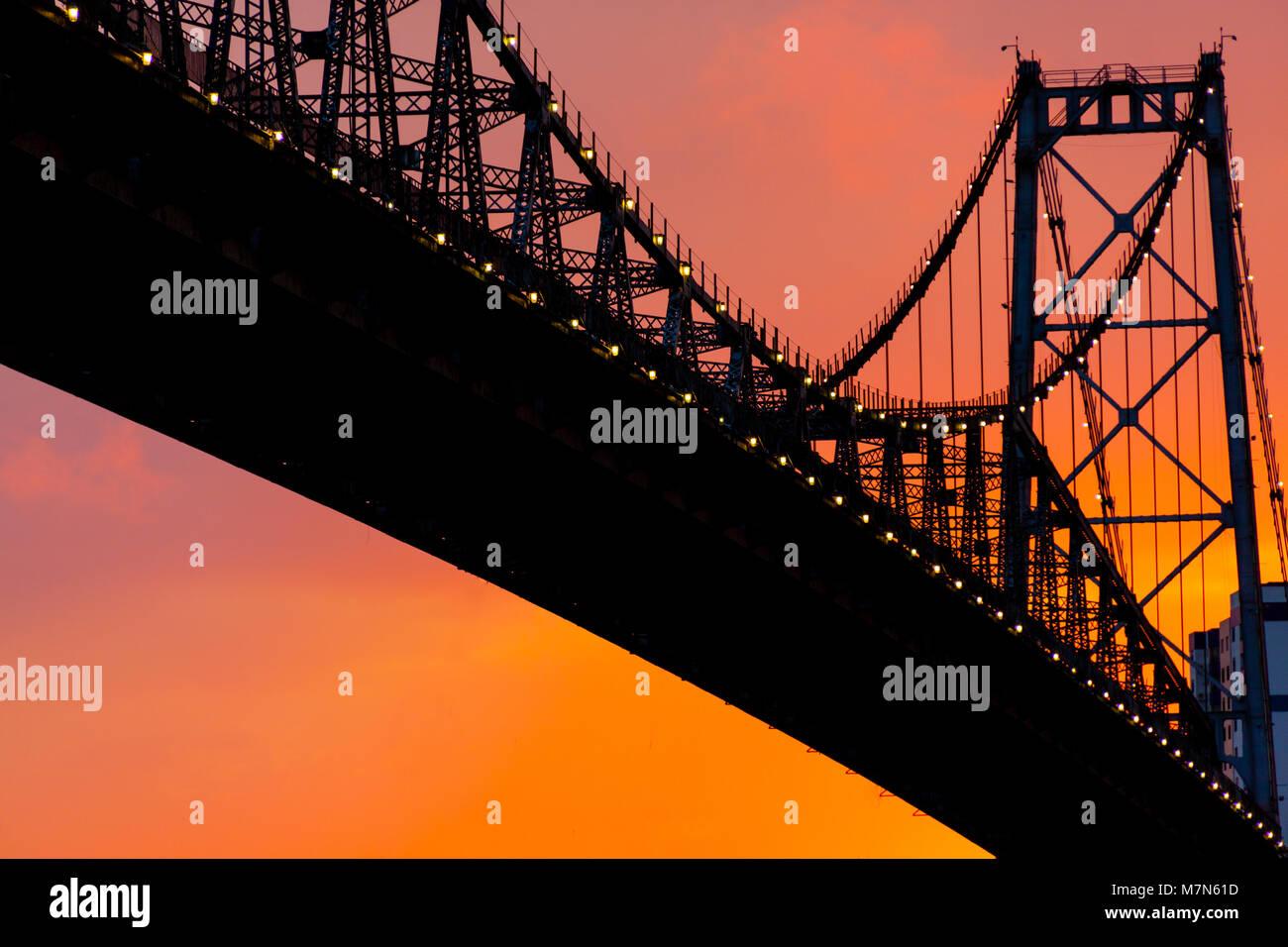 Bridge in the sunset. Hercílio luz in Florianópolis/SC, - Stock Image