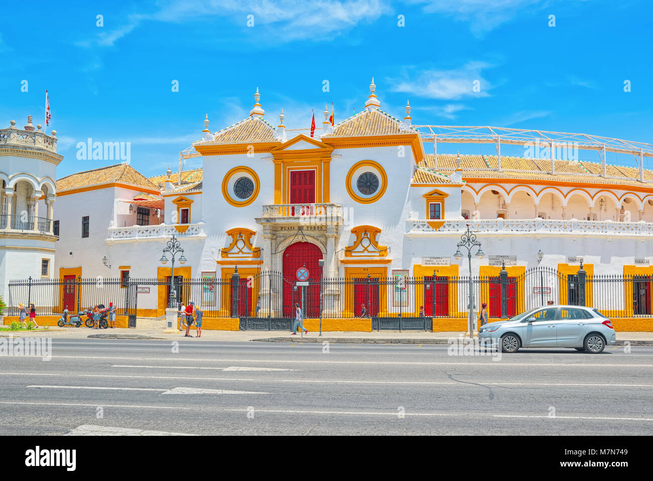 Seville, Spain - June 08,2017 : Outdoor view of Arena on of Square of bulls Royal Maestranza of Cavalry in Seville.(Plaza - Stock Image