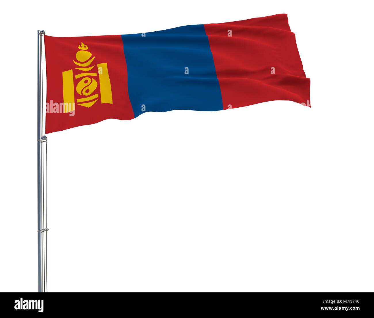 Isolate flag of Mongolia on a flagpole fluttering in the wind on a white background, 3d rendering - Stock Image