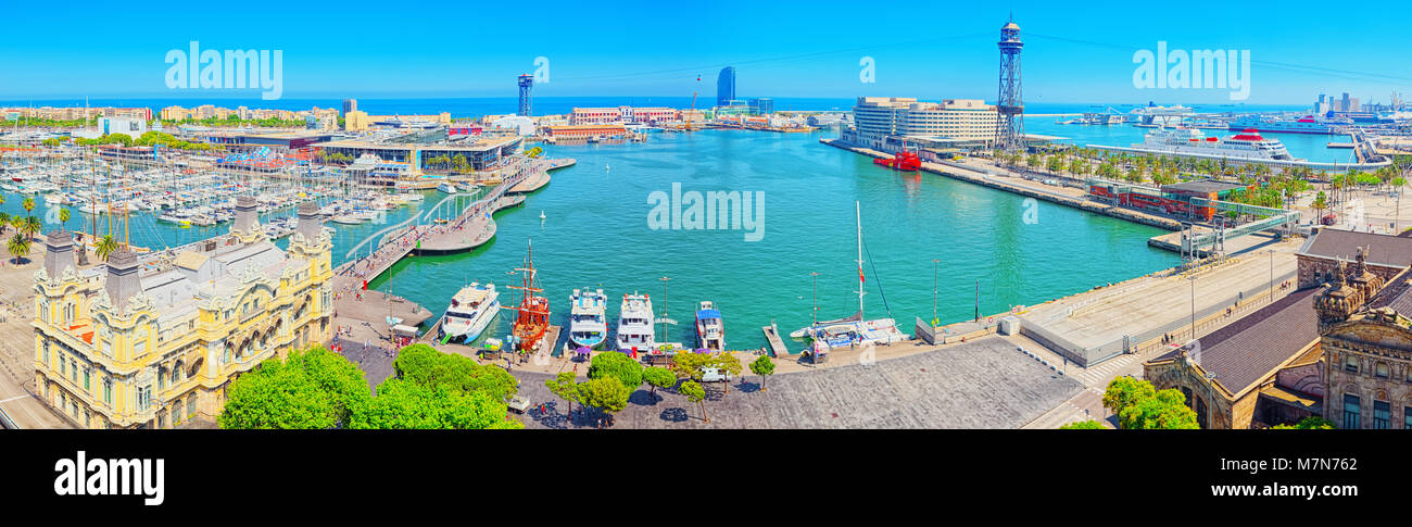 Barcelona, Spain - June 12, 2017 : Barcelona- capital of the autonomy of Catalonia. Panorama from the monument to - Stock Image