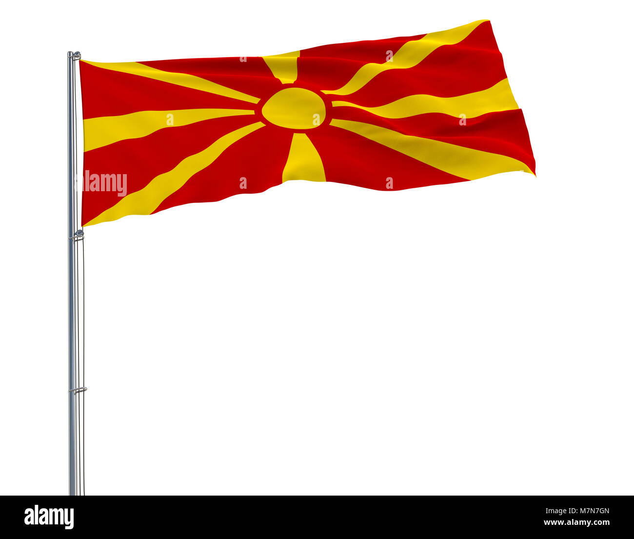 Isolate flag of Macedonia on a flagpole fluttering in the wind on a blue background, 3d rendering - Stock Image