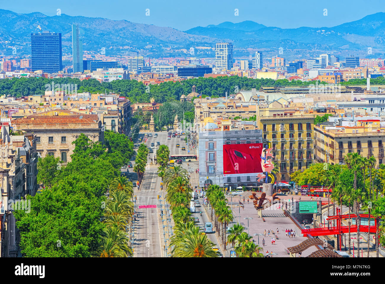 Barcelona, Spain - June 12, 2017:Barcelona- capital of the autonomy of Catalonia. Panorama from the monument to - Stock Image