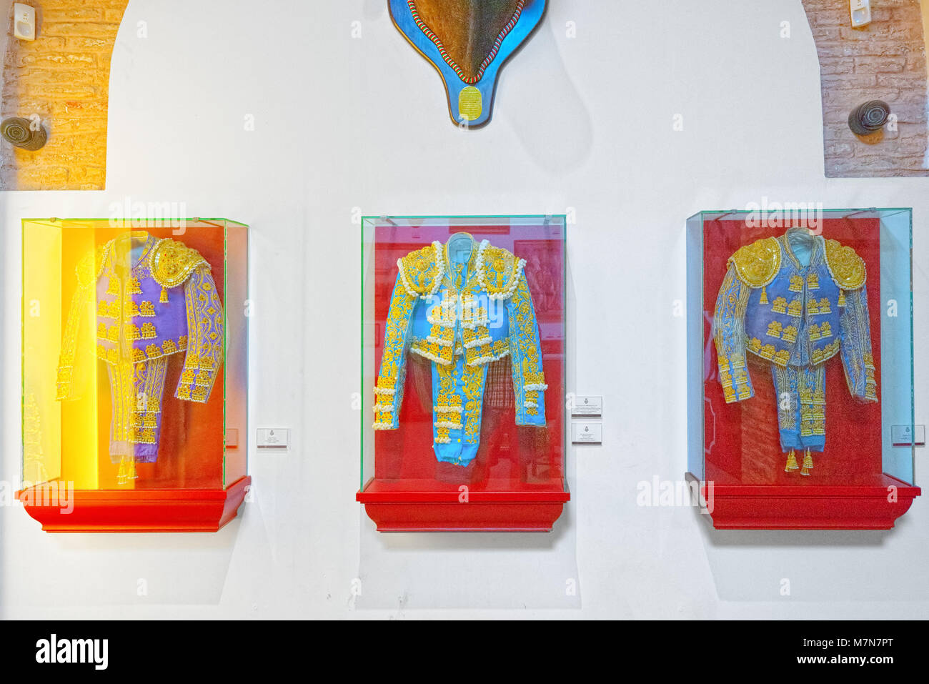 Seville, Spain - June 08, 2017 : Interior bullfighting Museum of the Real Maestranza de Caballeria (Museo Taurino - Stock Image