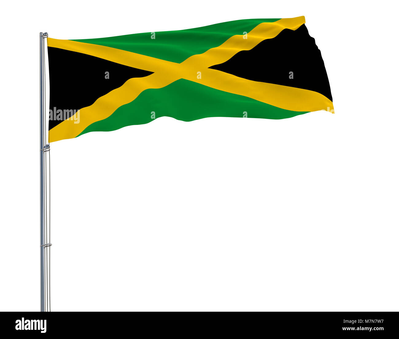 Flag of Jamaica on flagpole fluttering in the wind on white background, 3d rendering - Stock Image
